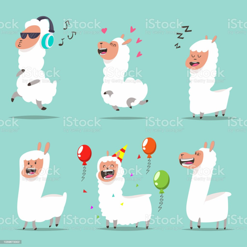 Cute Llama In Different Actions Cartoon Character Of Funny ...