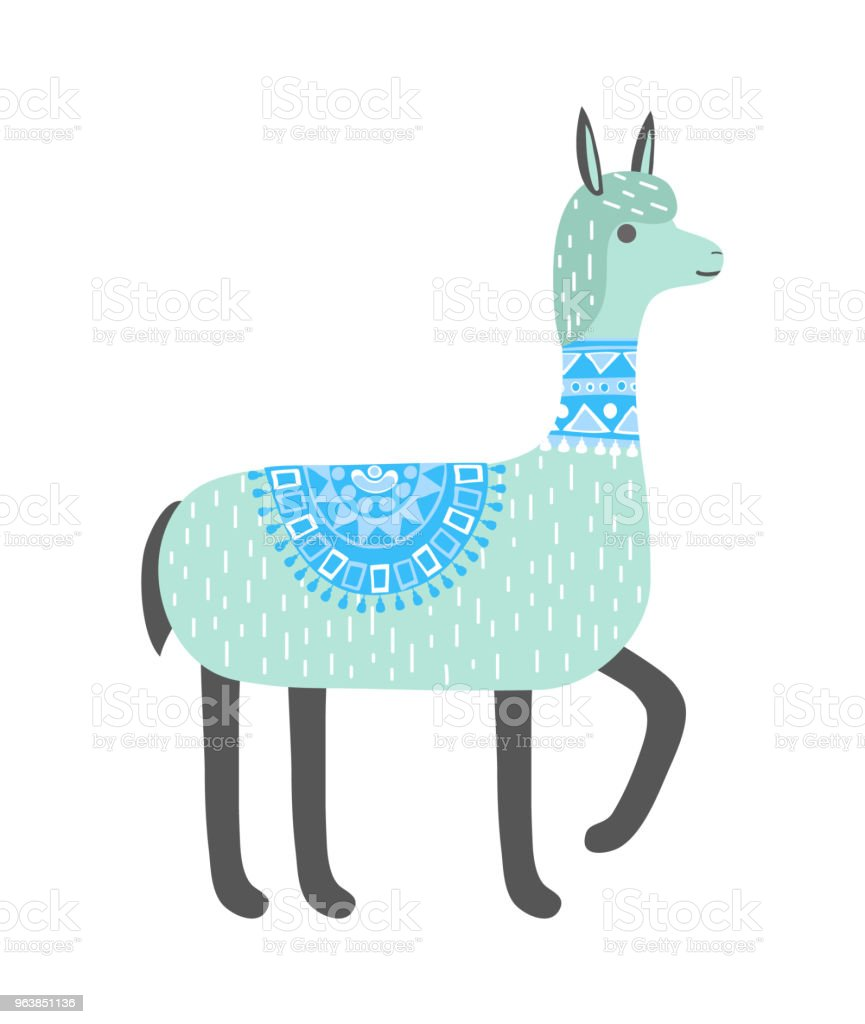 Cute llama isolated on white background. Alpaca. Vector illustration. - Royalty-free Alpaca stock vector