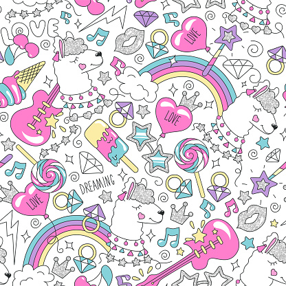 Cute llama pattern on a white background. Colorful trendy seamless pattern. Fashion illustration drawing in modern style for clothes. Drawing for kids clothes, t shirts, fabrics or packaging.