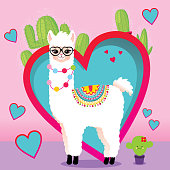 Cute Llama with hearts and cactus