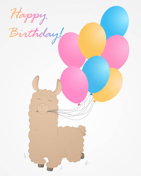 Cute llama with balloon Happy Birthday Vector illustration – artystyczna grafika wektorowa