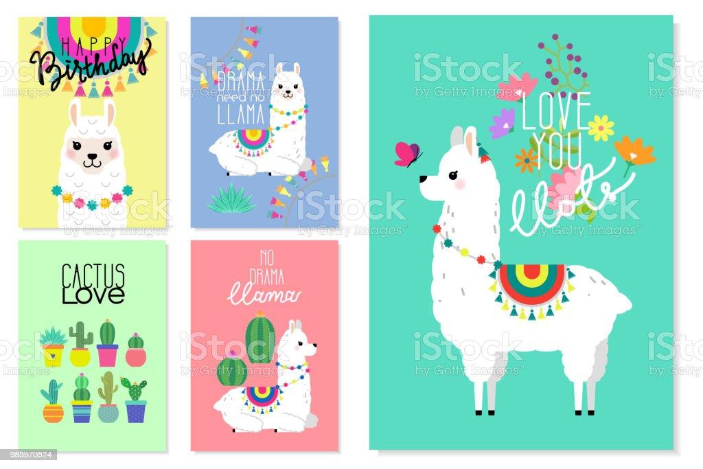 Cute Llamas Alpacas And Cactus Illustrations For Nursery Design