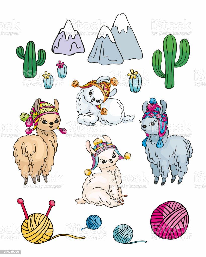 Ilustración de Llamas Lindo Conjunto y más banco de imágenes de ...