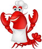 Vector illustration of Cute lobster chef cartoon