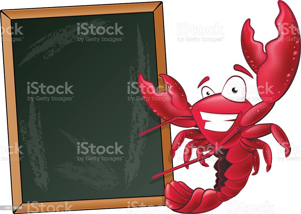 Cute Lobster with Sign Board. - Royalty-free 2015 stock vector