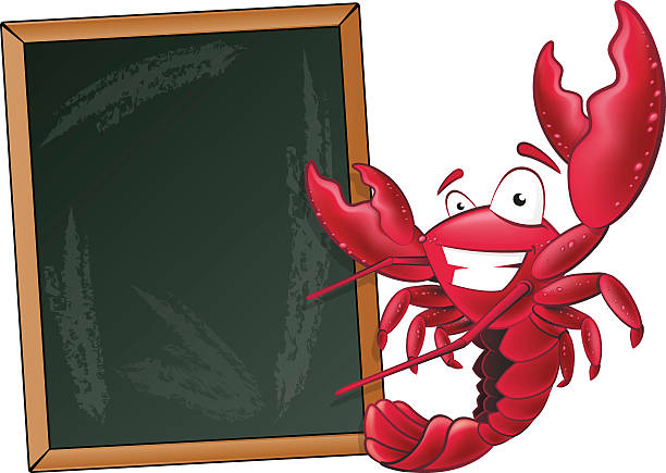 Cute Lobster with Sign Board. vector art illustration