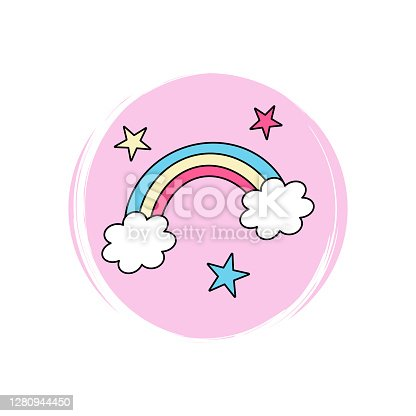 Cute logo or icon vector with rainbow and stars, illustration on circle with brush texture, for social media story and highlights