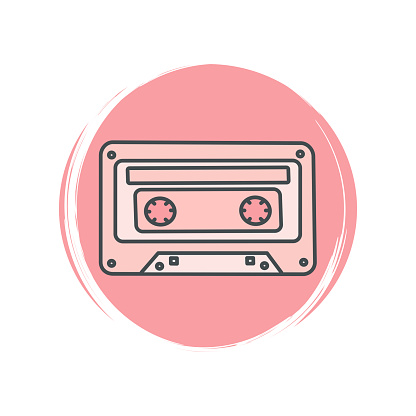 Cute logo or icon vector with retro cassette tape, illustration on circle with brush texture, for social media story and highlight