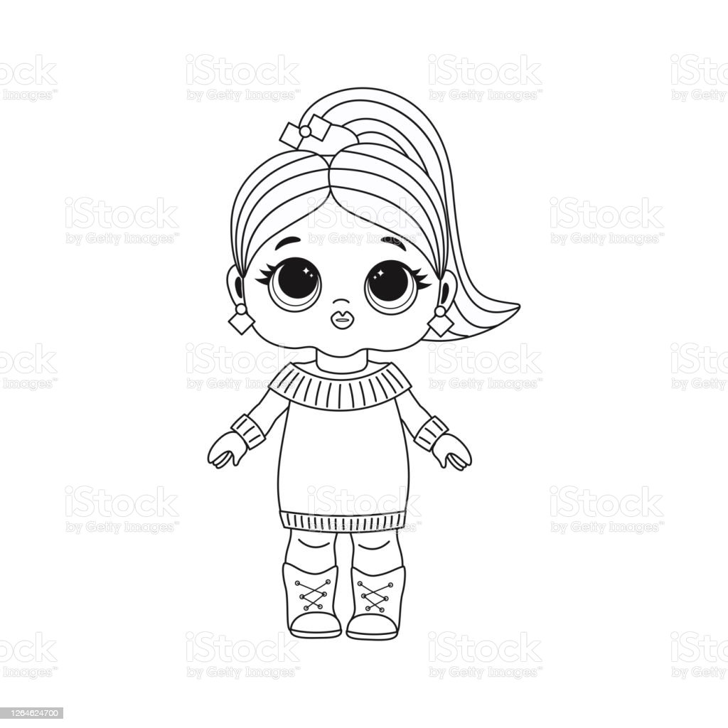 Cute Lol Doll Coloring Book For Kids Color Vector Illustration Stock  Illustration   Download Image Now