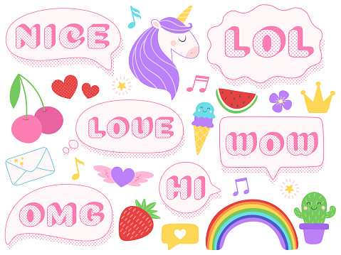Cute lol stickers. Wow, omg and nice girls doll sticker. Funny surprise pink patches with dotted texture isolated vector set