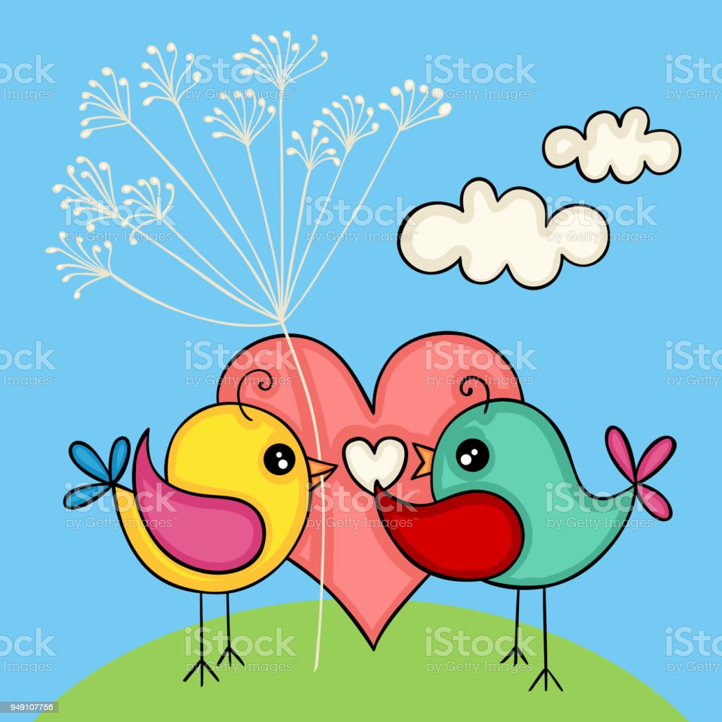 Cute love bird couple for valentines day stock vector art more cute love bird couple for valentines day royalty free cute love bird couple for valentines voltagebd Image collections