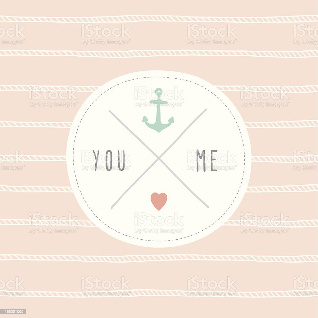 Cute love card You & Me royalty-free cute love card you me stock vector art & more images of anchor - vessel part