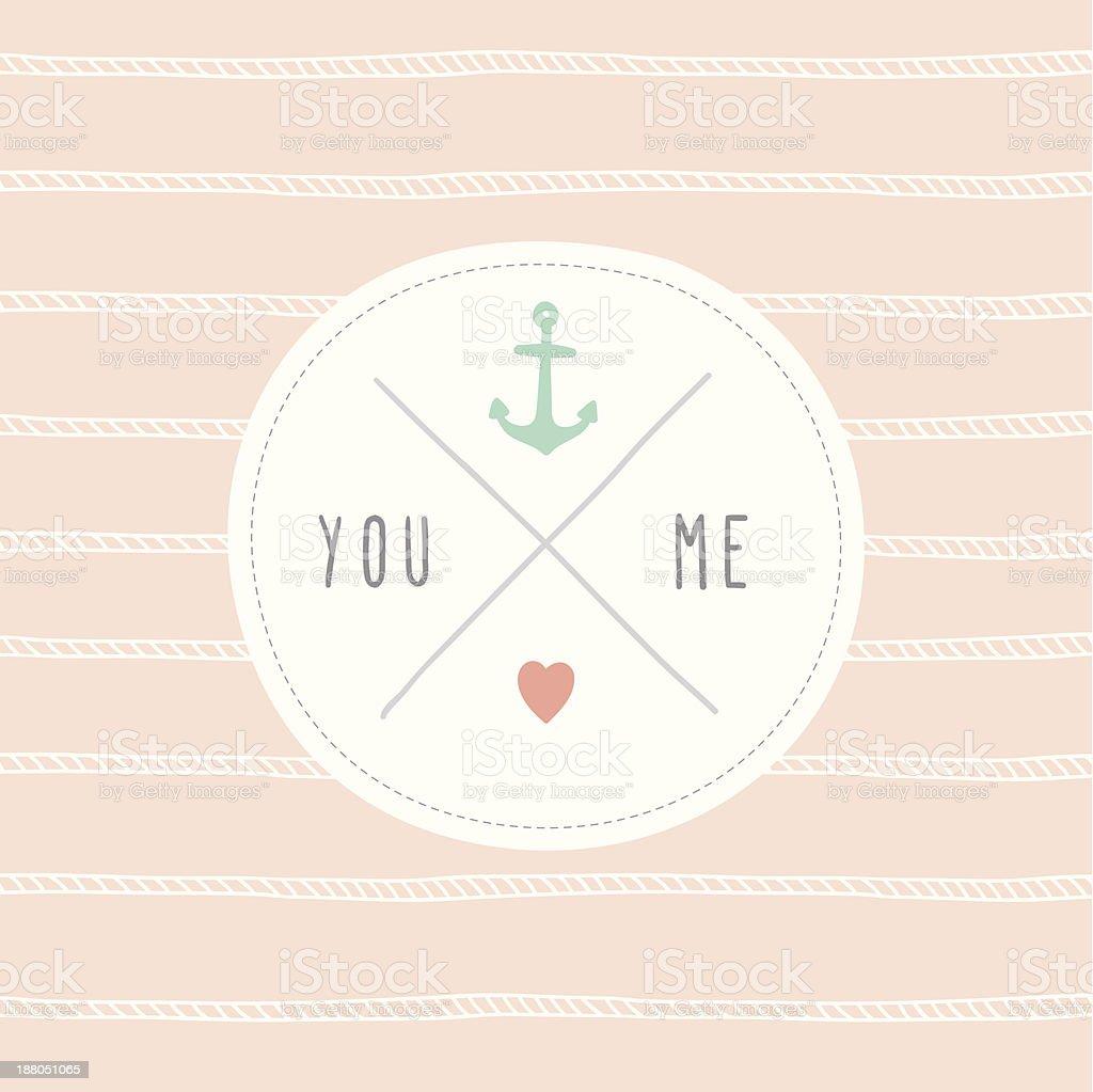 Süße Liebe Karte & Sie mich – Vektorgrafik