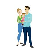 Cute love couple with baby,isolated on white background,stock cartoon vector illustration