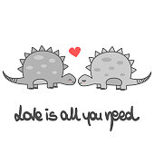 cute love is all you need romantic hand written lettering vector card with cartoon dinosaurs couple