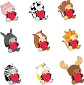 cute lovely animals valentine set