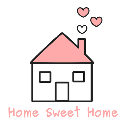 Download Cute Lovely Black White And Pink Home With Hearts Cartoon ...