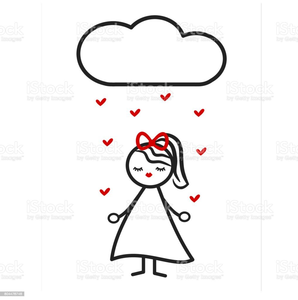 Cute Lovely Black White Red Stick Figure Girl And Cloud Drops Hearts
