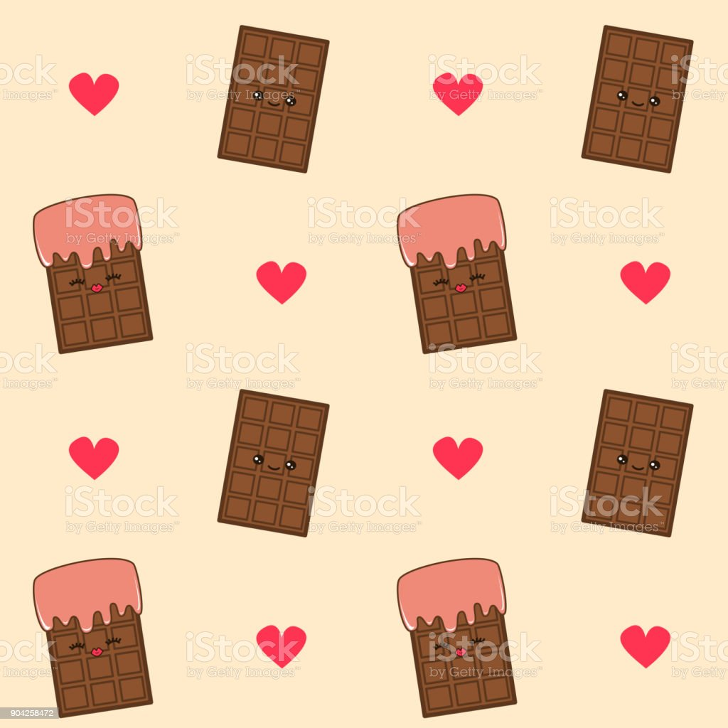Cute Lovely Cartoon Chocolate Bar Seamless Vector Pattern Background Illustration Stock Illustration Download Image Now Istock