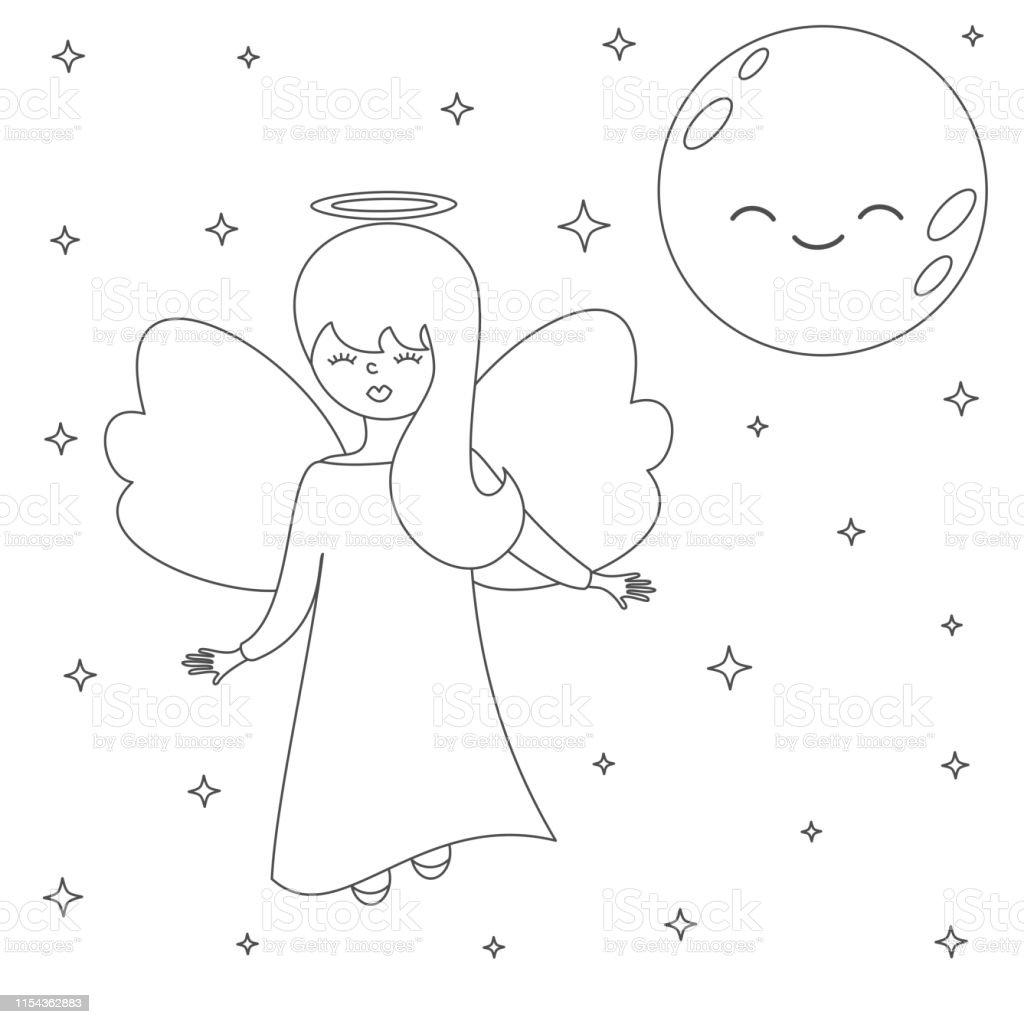 Ilustración De Lindo Hermoso Vector De Dibujos Animados ángel En El