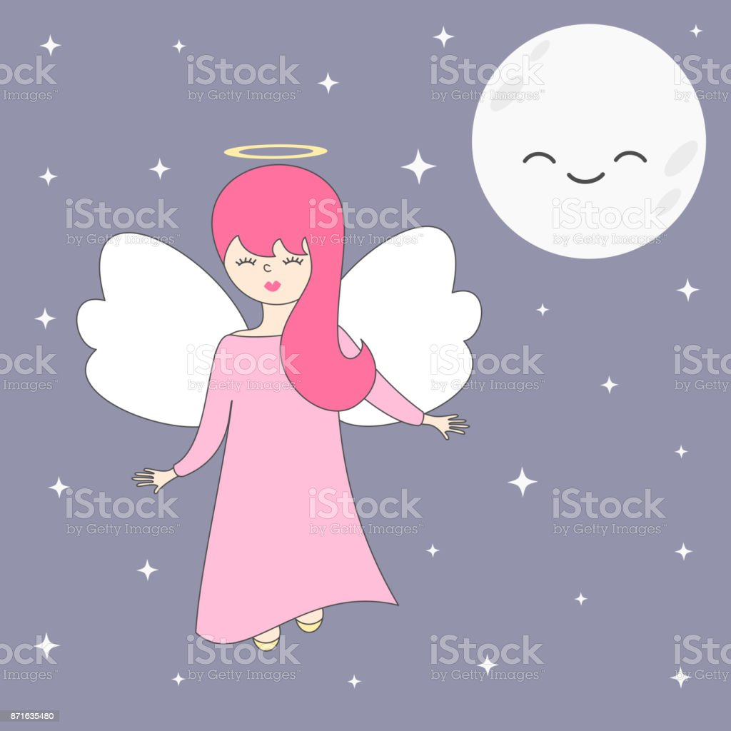 cute lovely cartoon vector angel in the sky with moon and stars vector art illustration