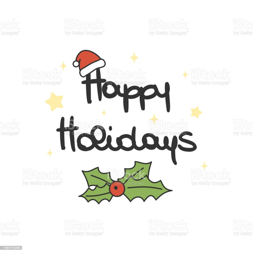 cute lovely hand drawn lettering happy holidays vector greeting card vector art illustration
