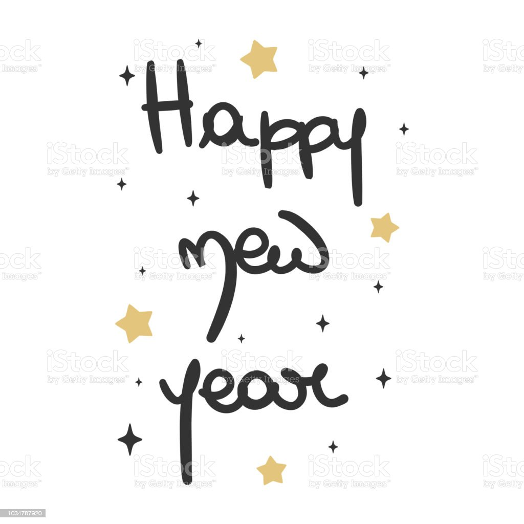 cute lovely hand drawn lettering happy new year vector greeting card vector art illustration
