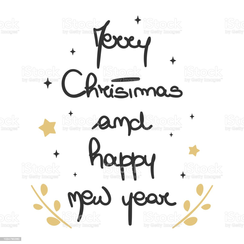 cute lovely hand drawn lettering merry christmas and happy new year vector greeting card vector art illustration
