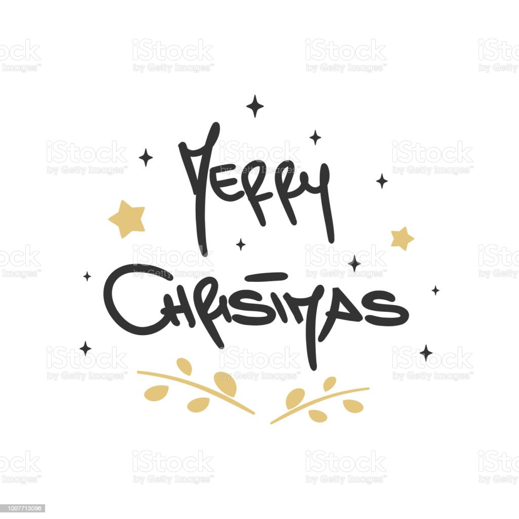 cute lovely hand drawn lettering merry christmas vector greeting card vector art illustration