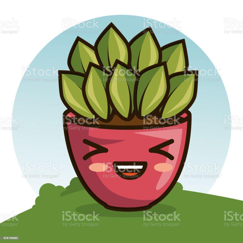 Cute Kawaii Belle Maison Plantes Dessins Animés Vecteurs
