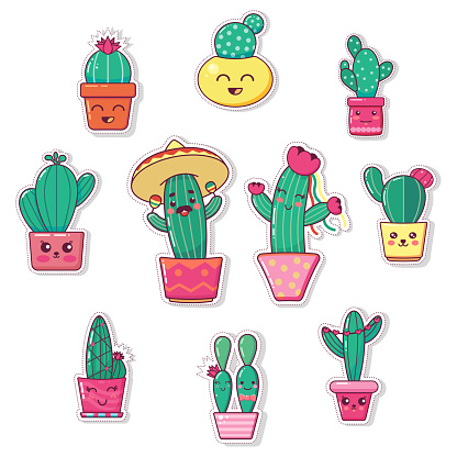 Cute lovely kawaii houseplants vector art. Kawaii faces flower pots. Cartoon style. Vector icon set white background print for greeting card. post card. flyer. print, banner, sticker, poster, postcard