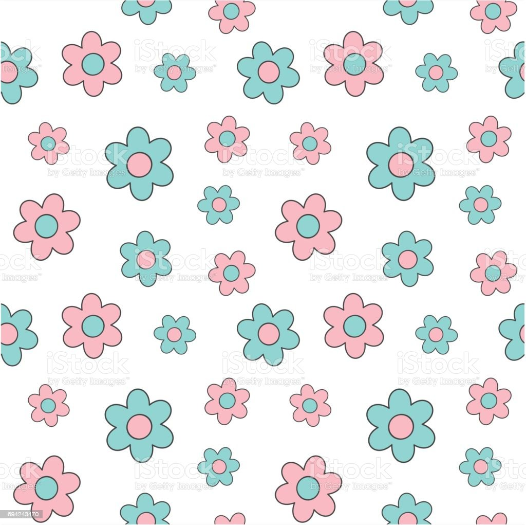 Cute Lovely Pink And Blue Cartoon Daisy Flowers Seamless Vector