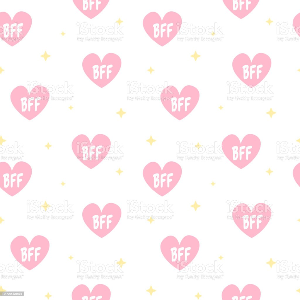 cute lovely pink hearts with bff text seamless vector pattern background illustration vector art illustration