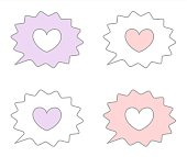 cute lovely pink, white, purple speech bubble with heart vector set illustration