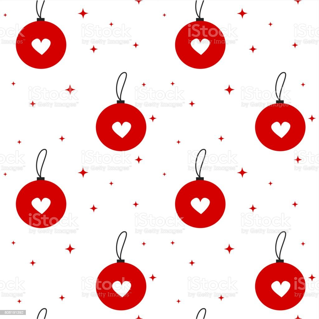 cute lovely red baubles with white heart seamless vector pattern background illustration vector art illustration