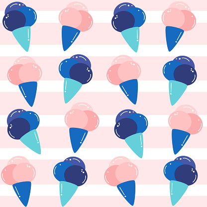 Cute lovely summer seamless vector pattern background illustration with cone ice creams