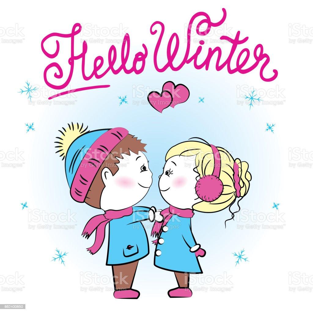 かわいい夫婦こんにちは冬 2人のベクターアート素材や画像を多数ご用意
