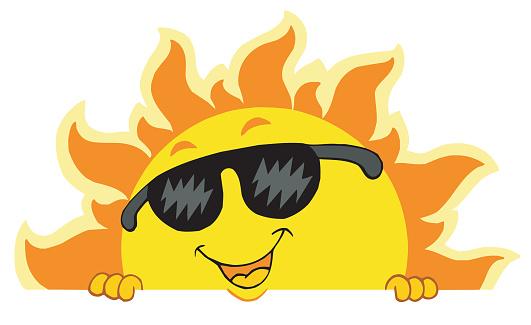 Cute lurking Sun with sunglasses
