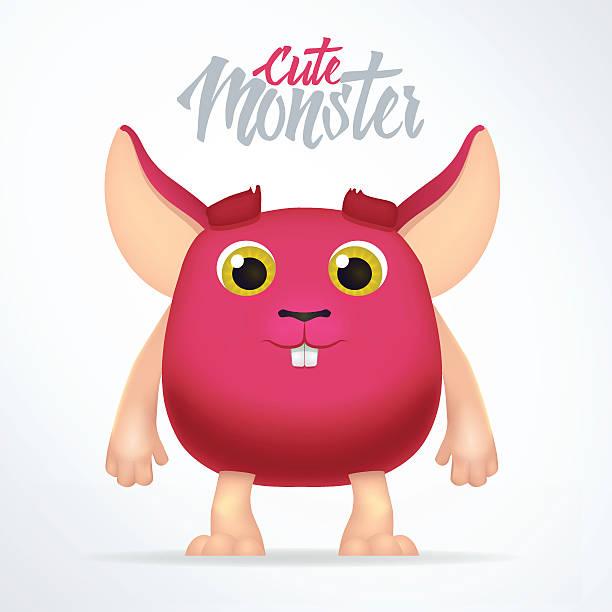 cute magenta monster rabbit with big ears. fun spooky fat - dragon eye stock illustrations, clip art, cartoons, & icons
