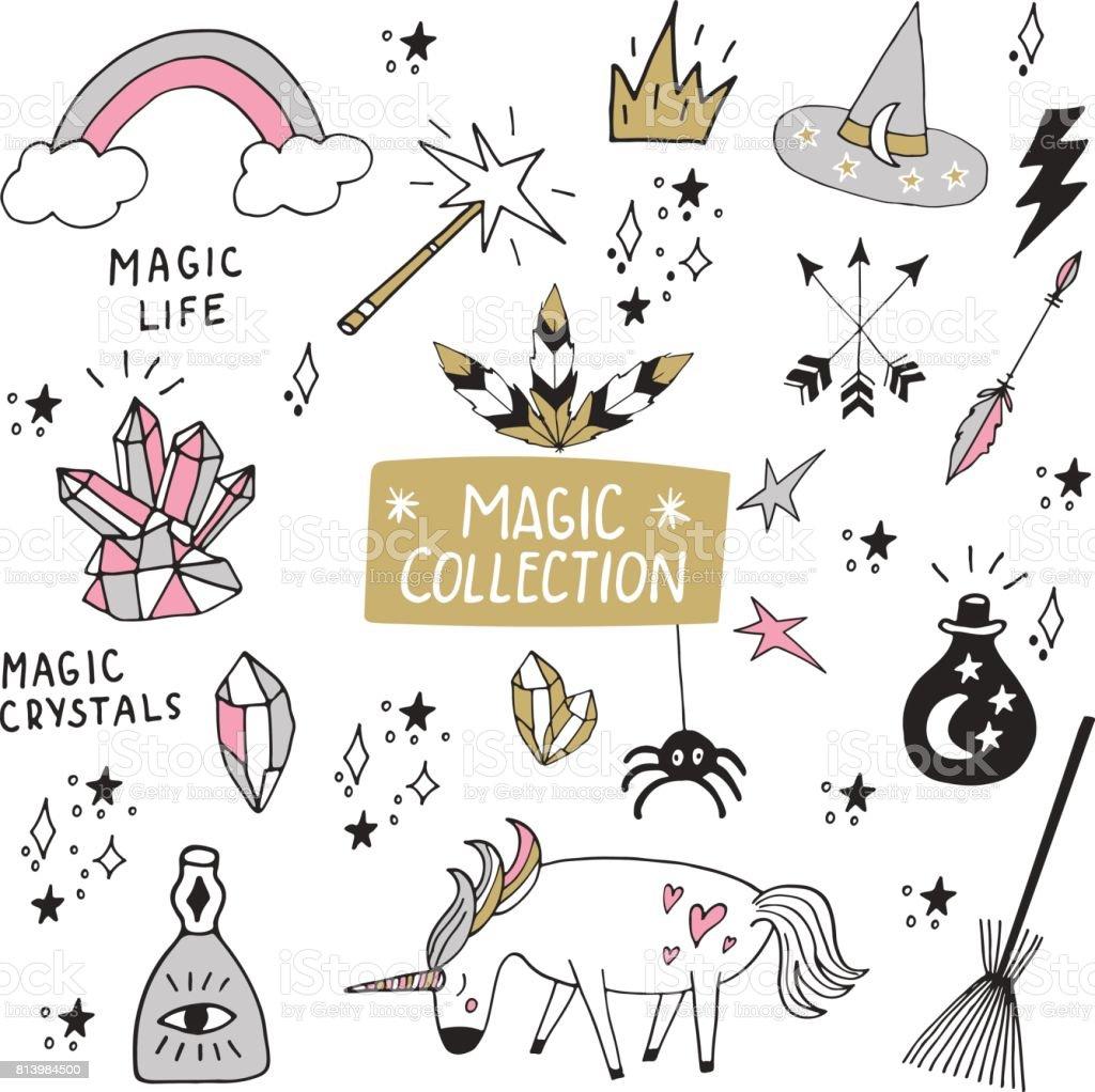 Cute magische Sammlung von handgezeichneten Elemente isoliert auf weiss. Vektor-Illustration mit handgezeichneten Schriftzug. – Vektorgrafik