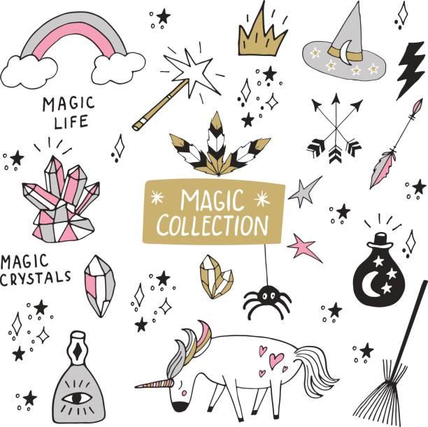 cute magische sammlung von handgezeichneten elemente isoliert auf weiss. vektor-illustration mit handgezeichneten schriftzug. - comic schriftarten stock-grafiken, -clipart, -cartoons und -symbole