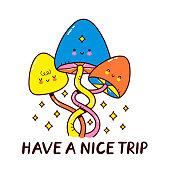 Cute magic mushrooms. Vector cartoon