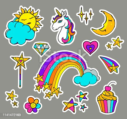 Cute magic set with unicorn, cake, rainbow, sun, moon, clouds, stars and other elements. Vector illustration isolated on grey background. Collection of stickers in cartoon doodle style for girls