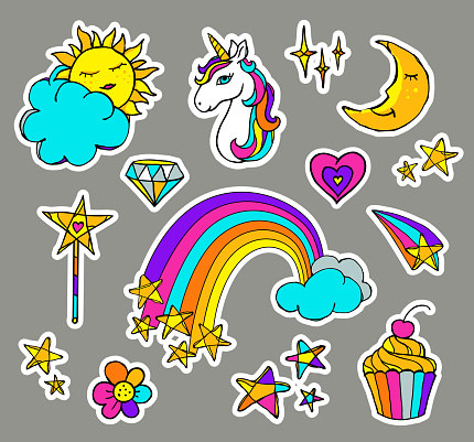 Cute magic set with unicorn, cake, rainbow, sun, moon, clouds, stars