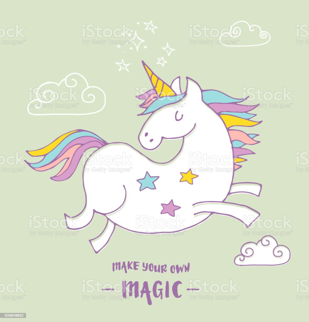 cute magic unicon and rainbow poster, greeting card vector art illustration