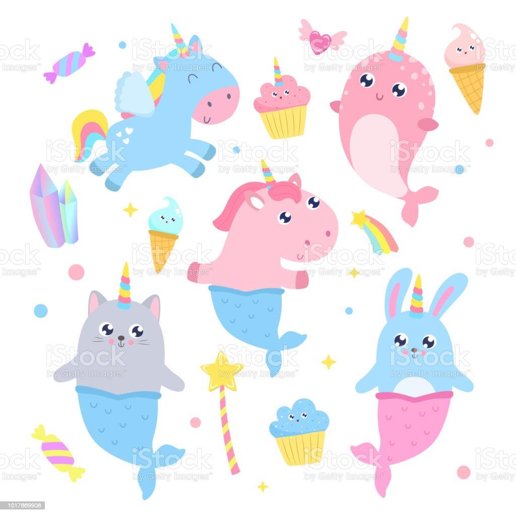 Cute magical creatures and magical items vector illustration. cute magical creatures and magical items vector illustration - immagini vettoriali stock e altre immagini di animale royalty-free