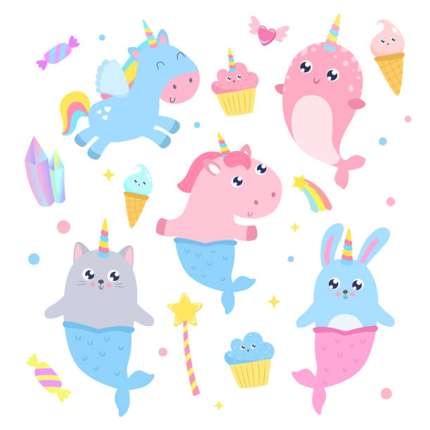 cute magical creatures and magical items vector illustration. - pony stock illustrations