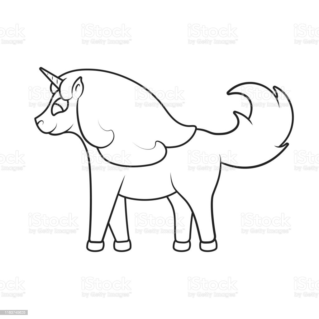 - Cute Magical Unicorn Outline Drawing Picture For Baby Coloring