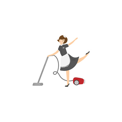 Cute maid with a vacuum cleaner. Raster illustration isolated on white background