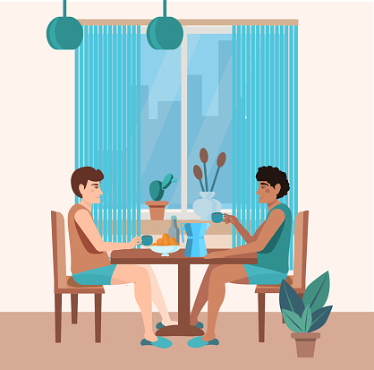 Cute male couple is sitting in the kitchen and drinking coffee.  Multiethnic characters. Love relationship and lgbt romantic date concept.Vector illustration of LGBT relations in a cartoon flat style.